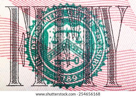 Macro shot of seal from the $50 bill �¢?? U.S. money. - stock photo