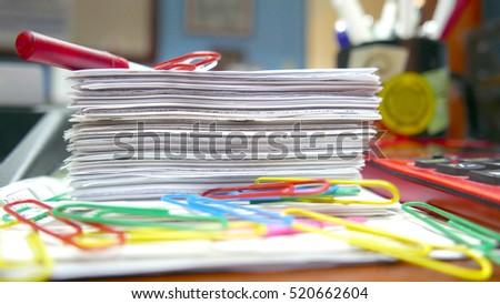 Macro shot of several office objects on a desk