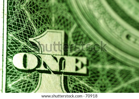 Macro shot of the number 1 of a dollar bill - stock photo