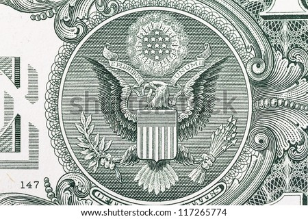 Macro shot of the seal of the United States on the US  dollar