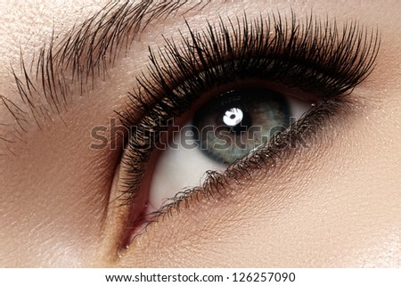 Macro shot of woman's beautiful eye with extremely long eyelashes. Sexy view, sensual look