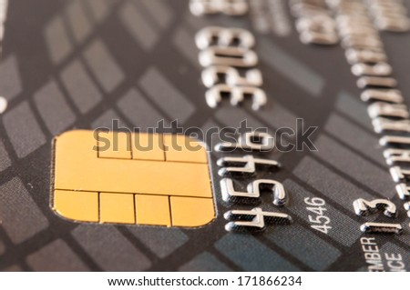 Macro shot with old credit card. - stock photo