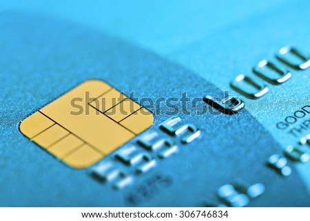 Macro shot with old credit card. Fake card numbers - stock photo