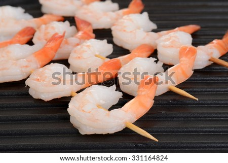 macro shrimp skewers - stock photo