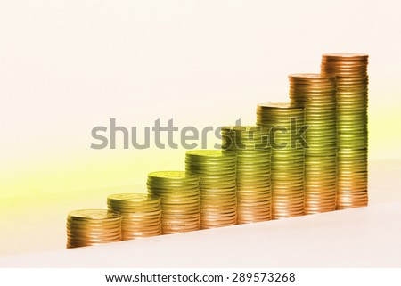 Macro silver coin stack isolated on a white background Studio - stock photo