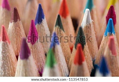 Macro slate colored pencils