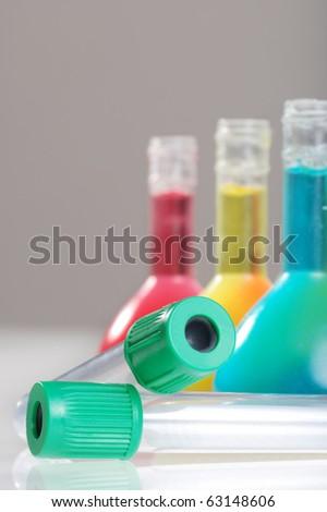 macro test tubes - stock photo