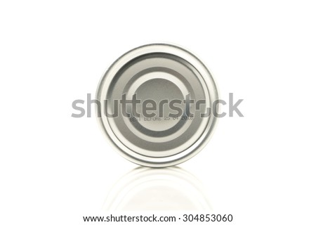 Macro text best before date on canned food isolated on white background