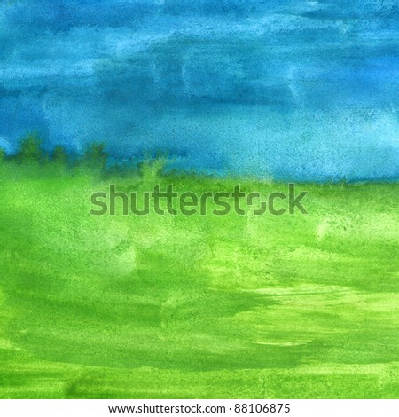 macro texture  blue green watercolors with brush strokes - stock photo
