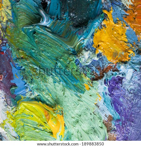 macro texture of colorful oil paints on an artist's palette - stock photo
