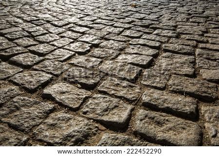 Macro viev of Cobblestone road, Bozcaada, Turkey - stock photo