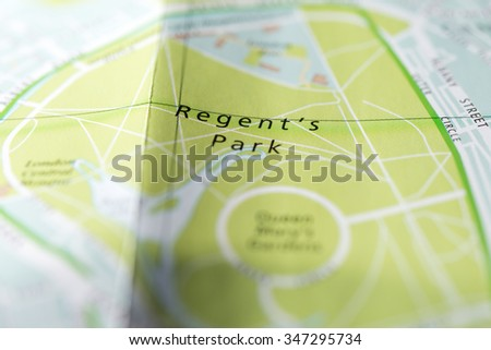 Macro view of a detailed London map. - stock photo
