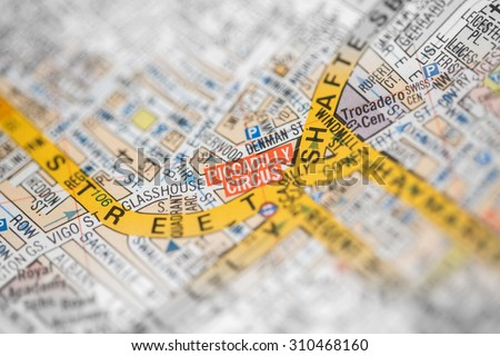 Macro view of a detailed London road map.  - stock photo