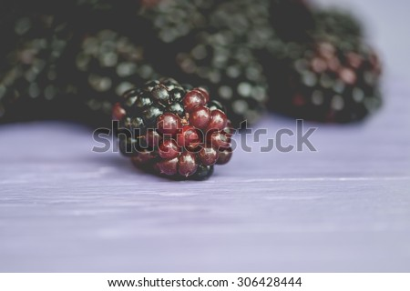 Macro view of a group of juicy blackberries, shallow DOF - stock photo