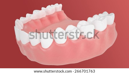 Macro view of a tooth cavity in anatomical 3D style illustrations on a red background
