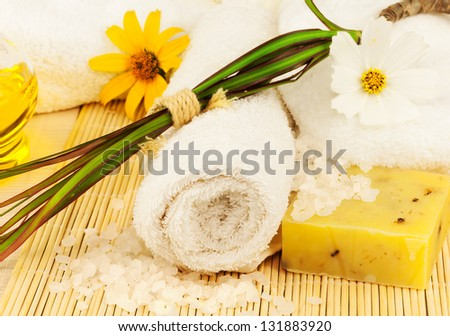 Macro view of bath towel with sea salt, oil, flowers and plant on the mat - stock photo