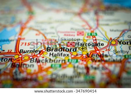 Macro view of Bradford, United Kingdom on map. (vignette) - stock photo