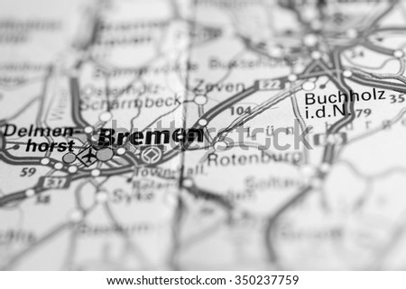 Macro View Bremen Germany On Map Stock Photo (Royalty Free ...
