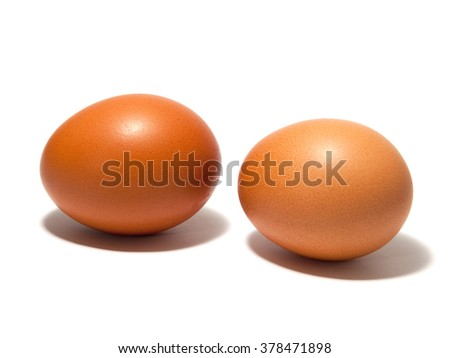 Macro view of brown  eggs on the white background - stock photo