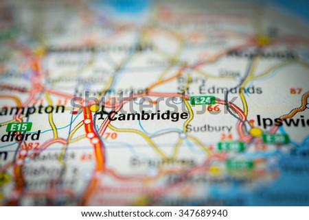 Macro view of Cambridge, United Kingdom on map. (vignette) - stock photo