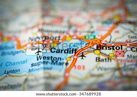 Macro view of Cardiff, United Kingdom on map. (vignette) - stock photo