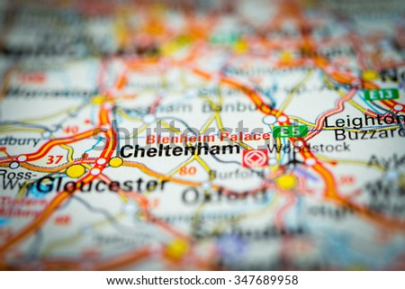 Macro view of Cheltenham, United Kingdom on map. (vignette) - stock photo
