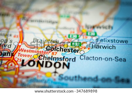 Macro view of Colchester, United Kingdom on map. (vignette) - stock photo