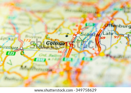 Macro View Colmar France On Map Stock Photo 349758629 Shutterstock