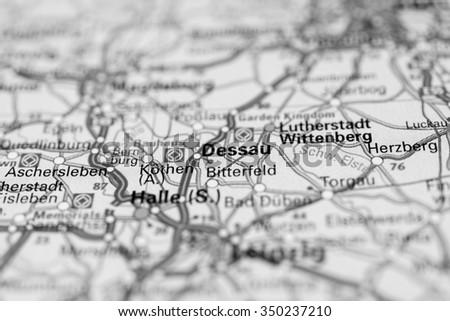 Macro View Dessau Germany On Map Stock Photo Royalty Free