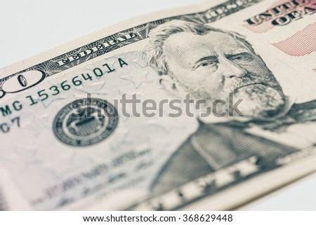 Macro view of 50 dollars bill. Closeup on 50 dollars banknote.