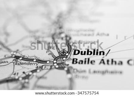 Macro view of Dublin, United Kingdom on map. - stock photo