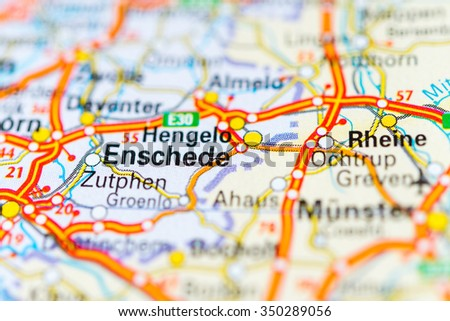 Macro View Enschede Netherlands On Map Stock Photo 350289056