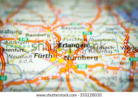 Macro View Erlangen Germany On Map Stock Photo 350228030 Shutterstock
