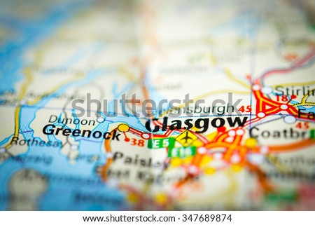 Macro view of Glasgow, United Kingdom on map. (vignette) - stock photo