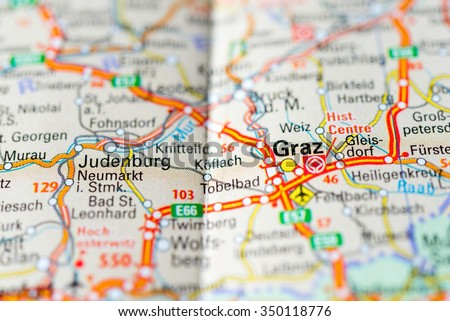 Macro View Graz Austria On Map Stock Photo 350118776 Shutterstock