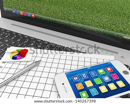 Macro view of Laptop with Documentation and Touchscreen Smartphone - stock photo
