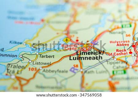 Macro view of Limerick, United Kingdom on map. - stock photo