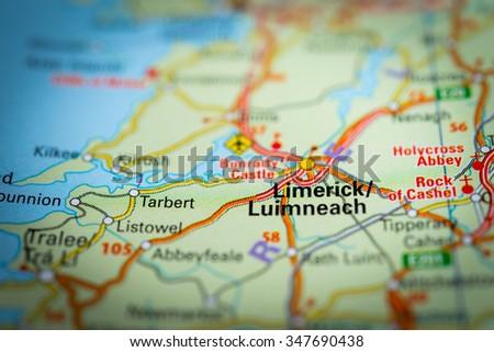 Macro view of Limerick, United Kingdom on map. (vignette) - stock photo