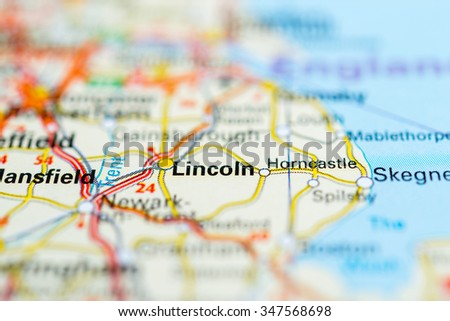Macro view of Lincoln, United Kingdom on map. - stock photo