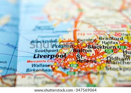 Macro view of Liverpool, United Kingdom on map. - stock photo