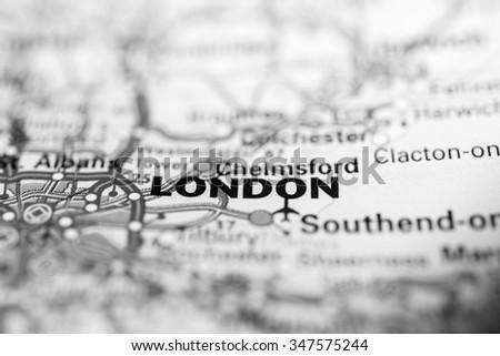 Macro view of London, United Kingdom on map. - stock photo