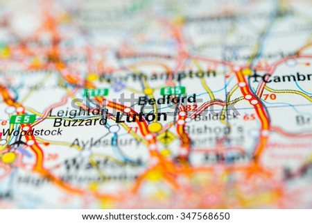 Macro view of Luton, United Kingdom on map. - stock photo
