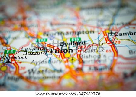 Macro view of Luton, United Kingdom on map. (vignette) - stock photo