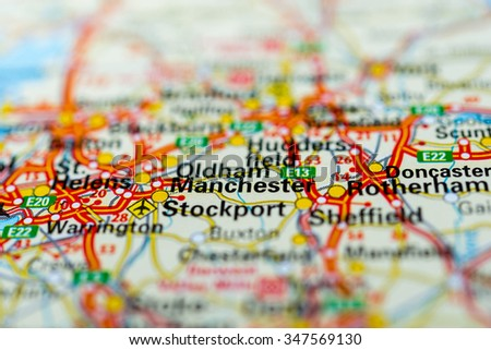 Macro view of Manchester, United Kingdom on map. - stock photo