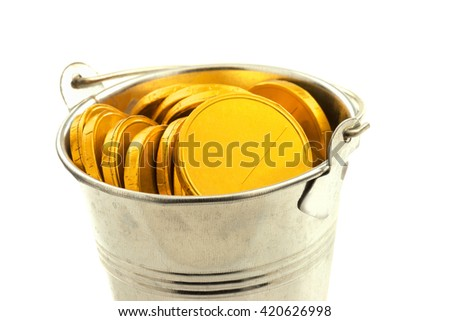 Macro view of metal bucket with gold coins isolated on white background - stock photo