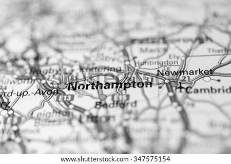 Macro view of Northampton, United Kingdom on map. - stock photo
