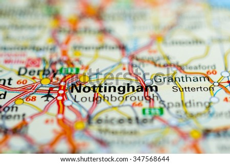 Macro view of Nottingham, United Kingdom on map. - stock photo
