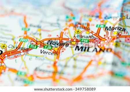 Macro View Novara Italy On Map Stock Photo 349758089 Shutterstock