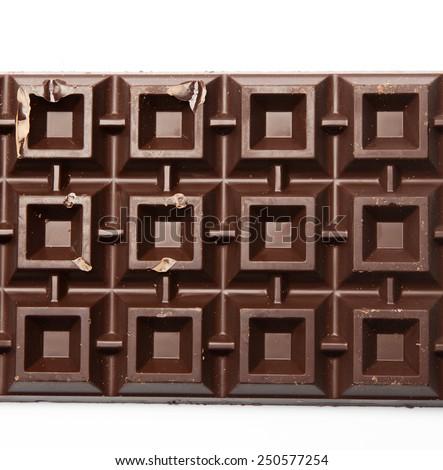 Macro view of plate of brown bitter chocolate - stock photo