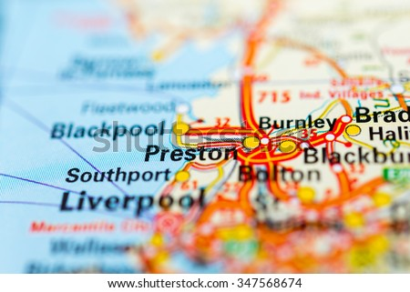 Macro view of Preston, United Kingdom on map. - stock photo